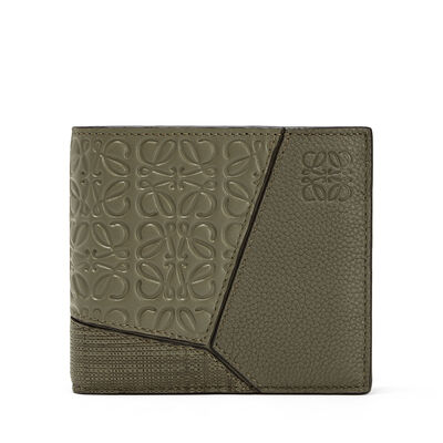 LOEWE Puzzle Multitexture Bifold Khaki Green front