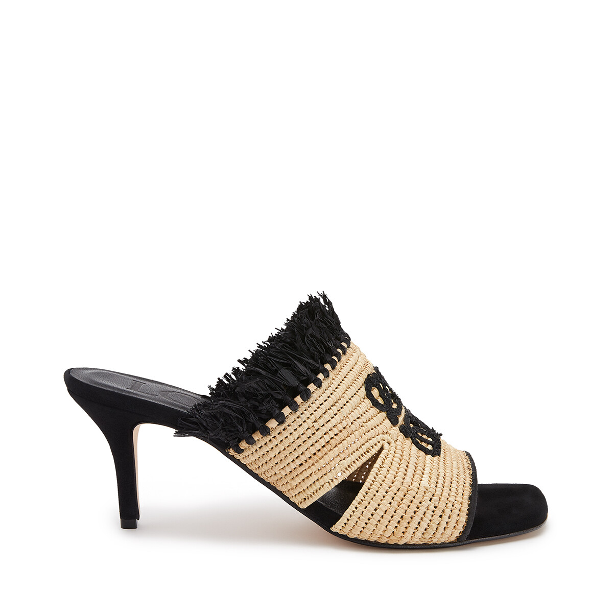 LOEWE Embroidered 70 Mule In Raffia Natural/Black front