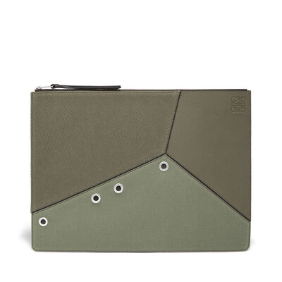 LOEWE Large Puzzle Flat Pouch Khaki Green/Dark Grey front