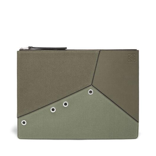 LOEWE Large Puzzle Flat Pouch Khaki Green/Dark Grey all