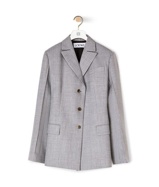 LOEWE Peak Lapel Stripe Jacket Grey front