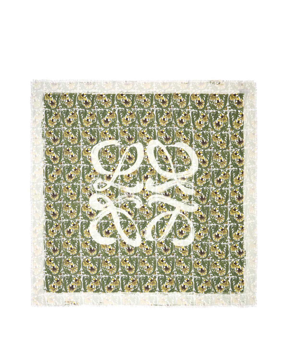 LOEWE 140X140 Scarf Flowers Anagram グリーン/ホワイト front