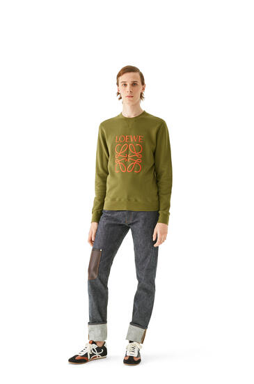 LOEWE Anagram embroidered sweatshirt in cotton 軍綠色 pdp_rd