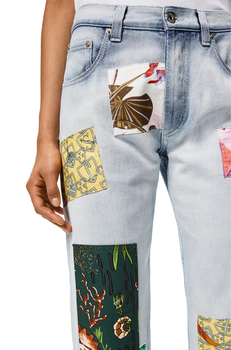 LOEWE Patched jeans in cotton Light Blue/Multicolor pdp_rd