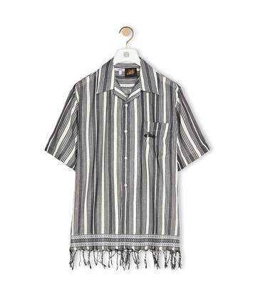 LOEWE Camisa De Algodón A Rayas Negro/Blanco front