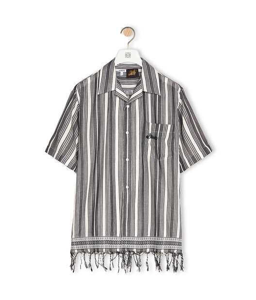 LOEWE Shirt In Striped Cotton Black/White front