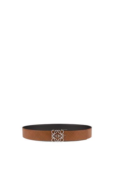 LOEWE Anagram Belt In Textured Calf Dark Brown/Black pdp_rd