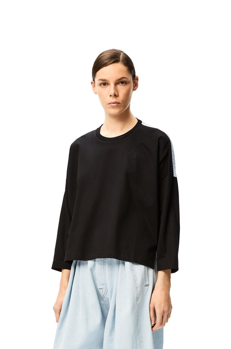 LOEWE Anagram embroidered long sleeve cropped top in cotton Black pdp_rd