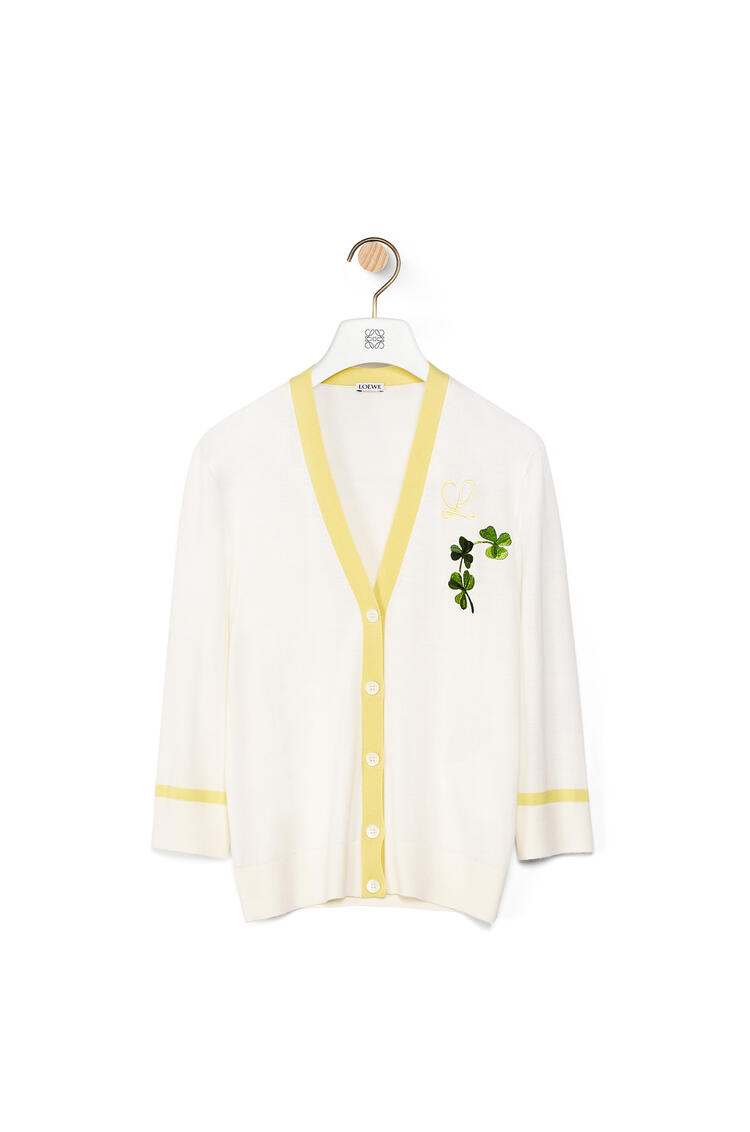LOEWE Shamrock embroidered cardigan in wool Off-white pdp_rd