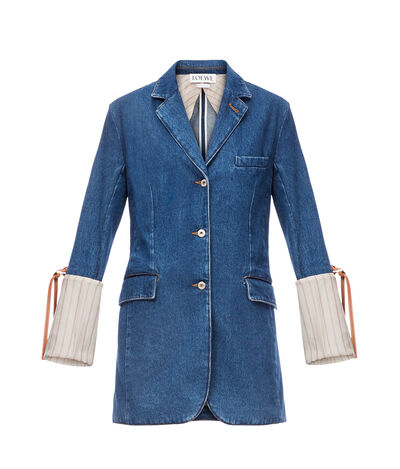 LOEWE Stripe Cuff Denim 3Bt Jacket Blue/Beige front