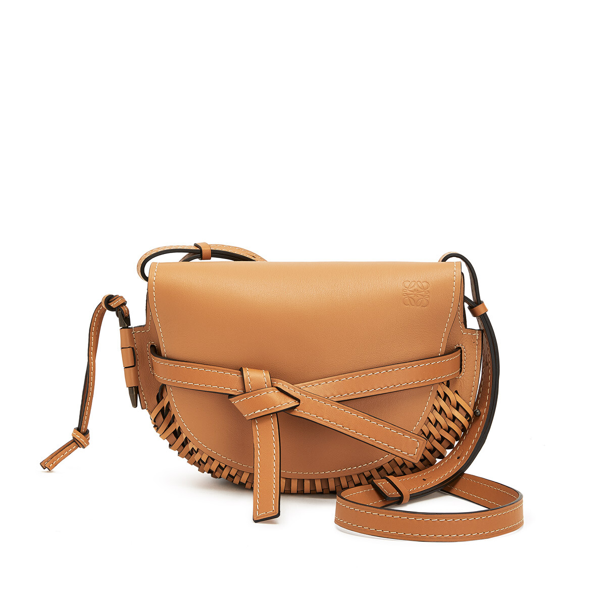 LOEWE Gate Woven Small Bag Light Caramel front