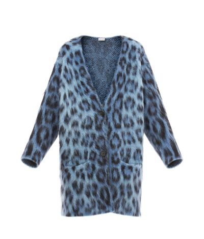 LOEWE Leopard Mohair Cardigan Blue/Multicolor front