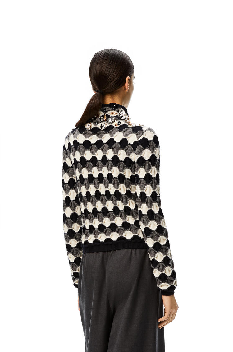 LOEWE Rhinestoned high neck sweater in wool Black/Grey/White pdp_rd