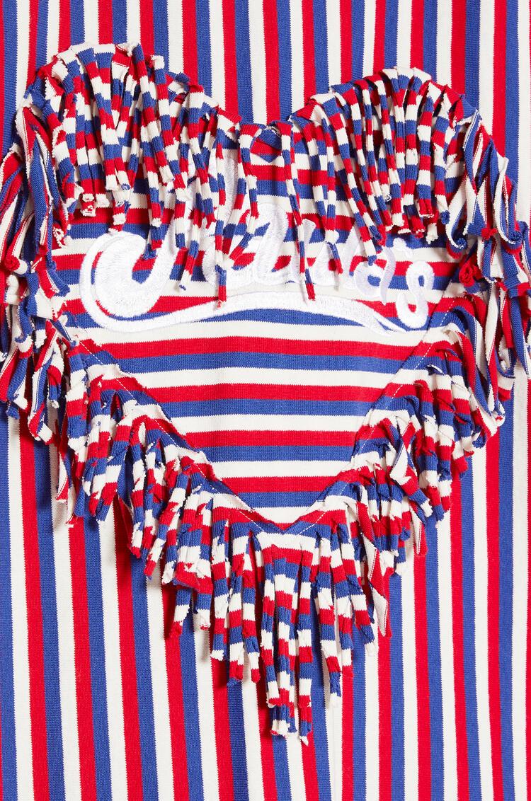 LOEWE フリンジ ハート Tシャツ (ストライプ コットン) Red/White/Blue pdp_rd