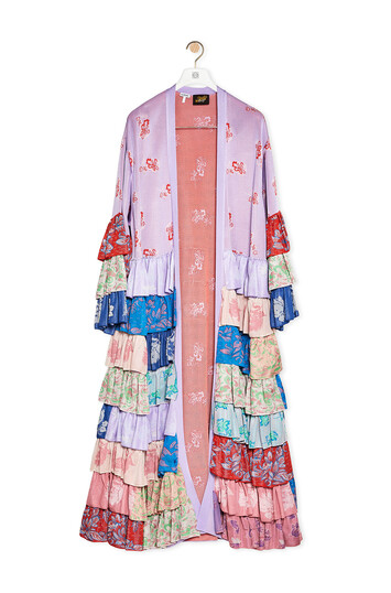 LOEWE Ruffle Knit Robe Coat In Viscose Lilac/Multicolor front