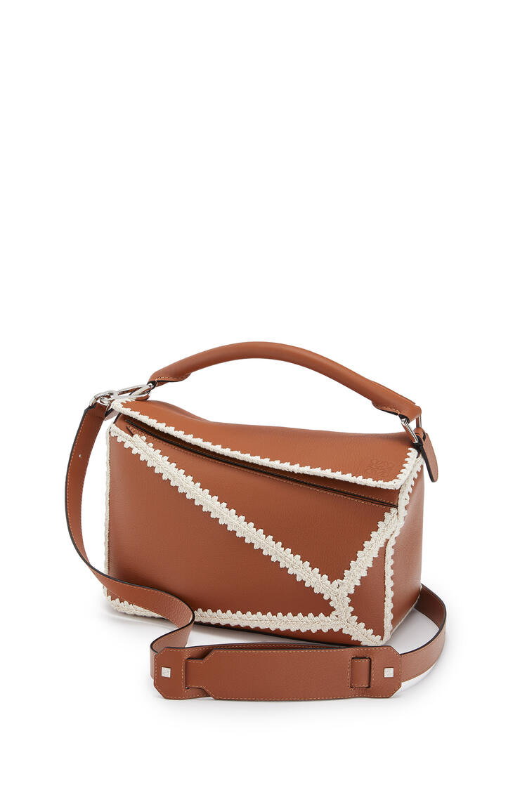 LOEWE Puzzle Bag In Knit And Calfskin Tan pdp_rd