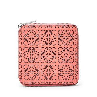 LOEWE Square Zip Wallet Pink Tulip/Black front