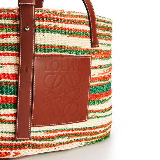 LOEWE Basket Bag In Sisal And Calfskin Natural/Red front