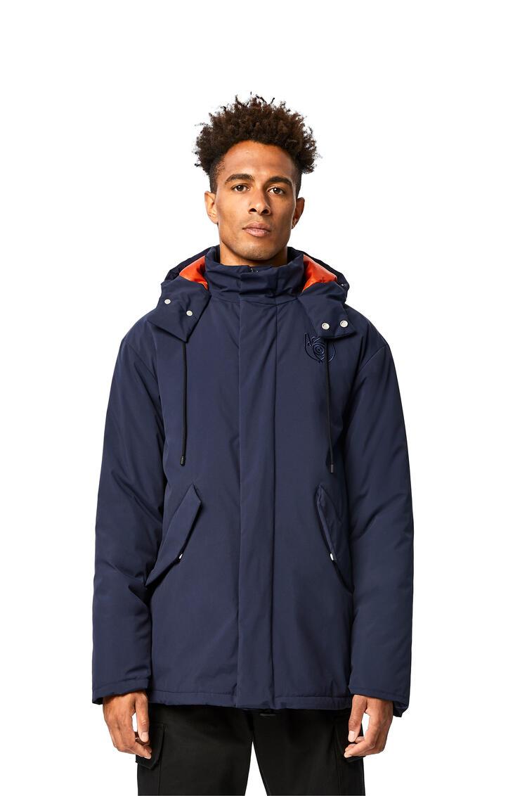 LOEWE Turtle neck jacket with hoodie in nylon Navy Blue/Orange pdp_rd