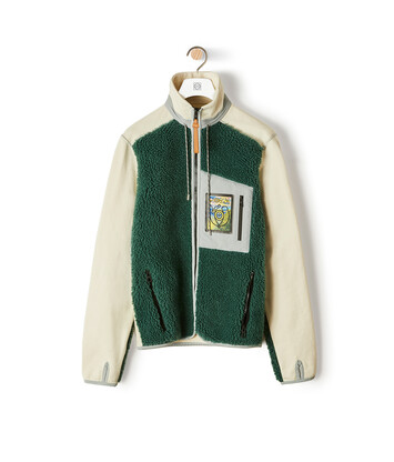 LOEWE Eln High Neck Fleece Jacket Forest Green/Calico front