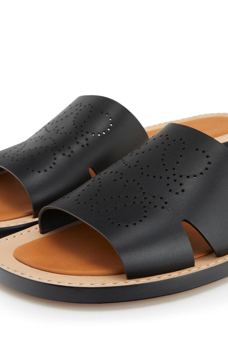 LOEWE Perforated anagram mule in calfskin Black pdp_rd