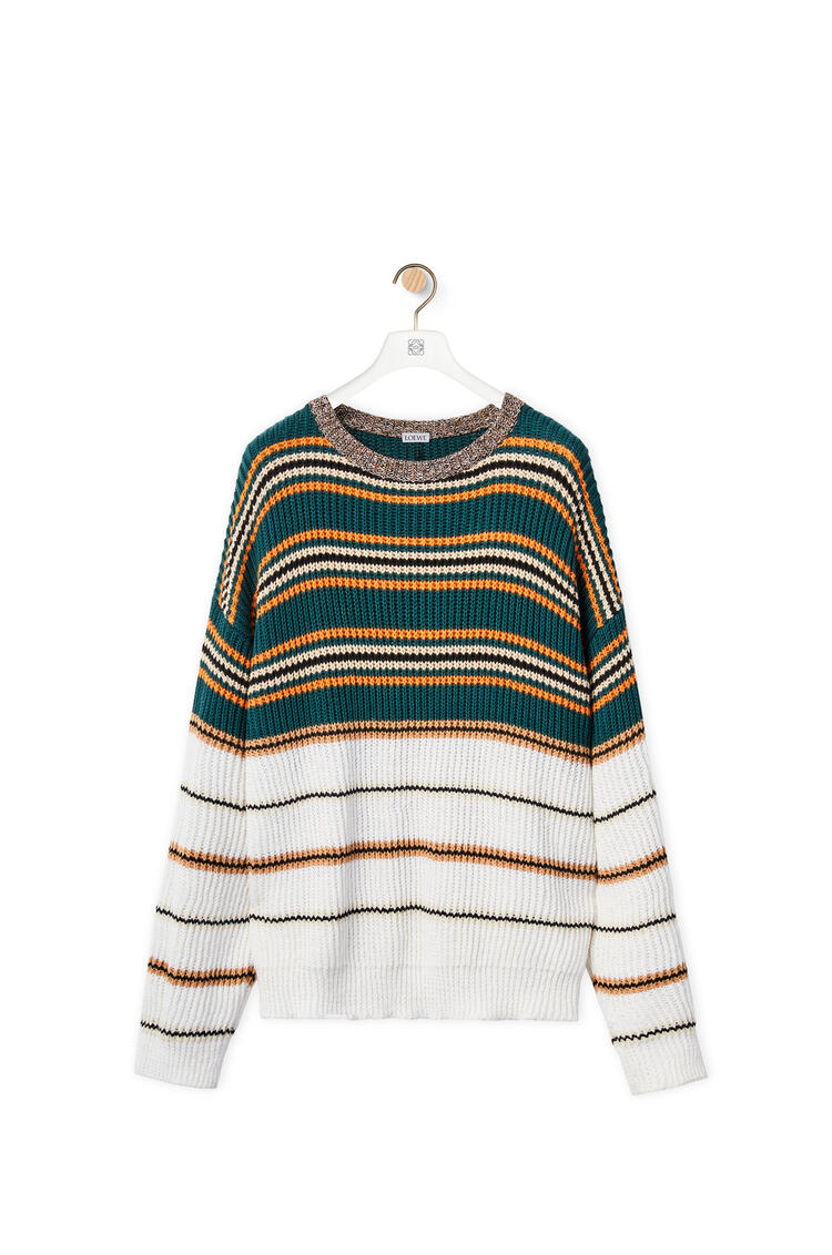 LOEWE Striped crewneck sweater in cotton Camel/Green pdp_rd