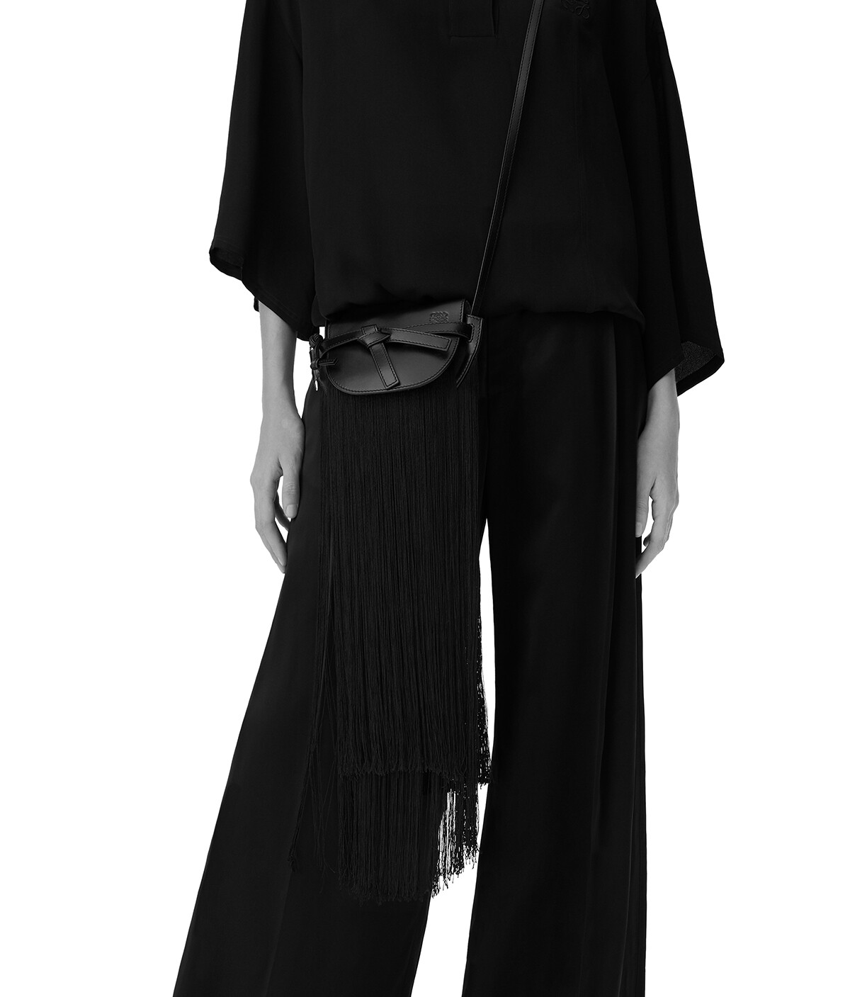 LOEWE Gate Fringes Mini Bag Black front