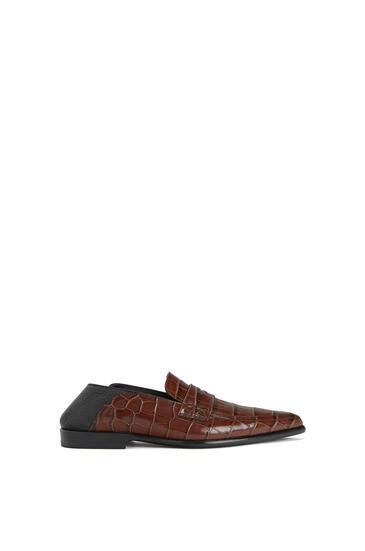 LOEWE Pointy Slip On Loafer In Calfskin 咖啡色/黑 pdp_rd