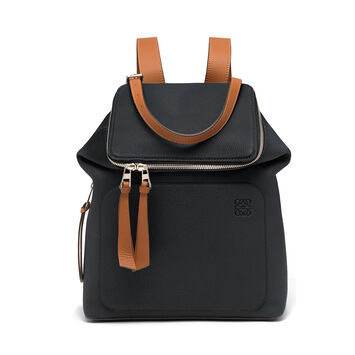 LOEWE Goya Small Backpack Black/Pecan Color front