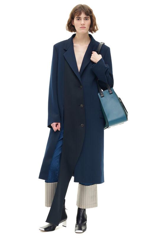 LOEWE Asymmetric Jersey Coat Negro/Marino Oscuro all