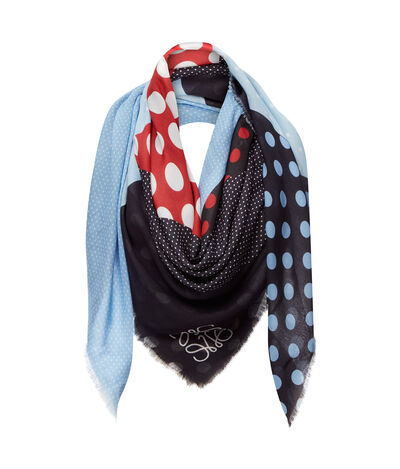 LOEWE 140X140 Scarf Patchwork Dots Multicolor front