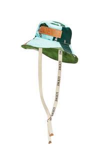 LOEWE Sombrero de pescador Easter Island en lona y piel de ternera Menta/Multicolor pdp_rd