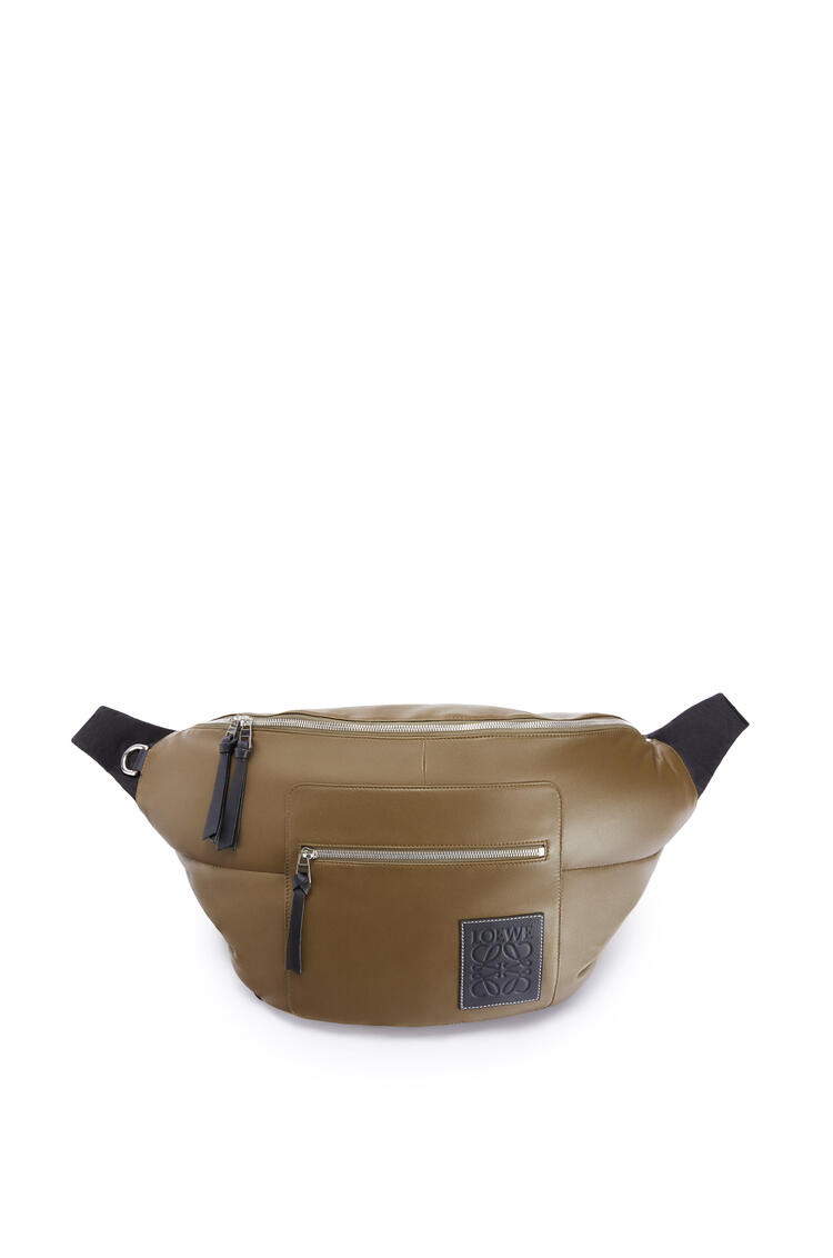 LOEWE XL Puffy Bumbag in nappa lambskin Khaki Brown/Black pdp_rd