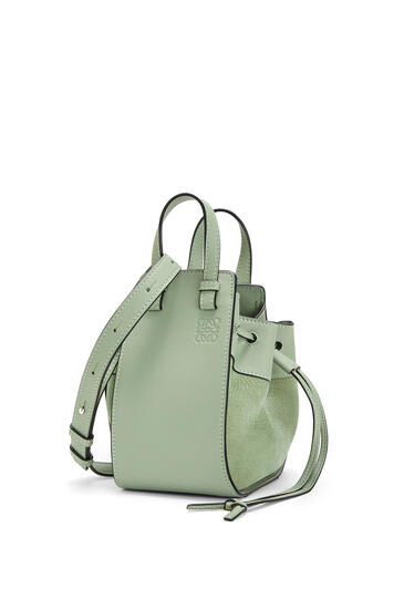 LOEWE Small Hammock Drawstring bag in calfskin and nubuck Pale Green pdp_rd