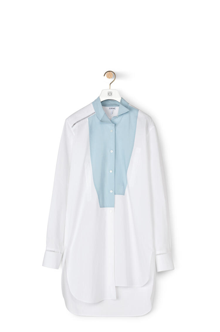 LOEWE Asymtric shirt dress in cotton White/Blue pdp_rd