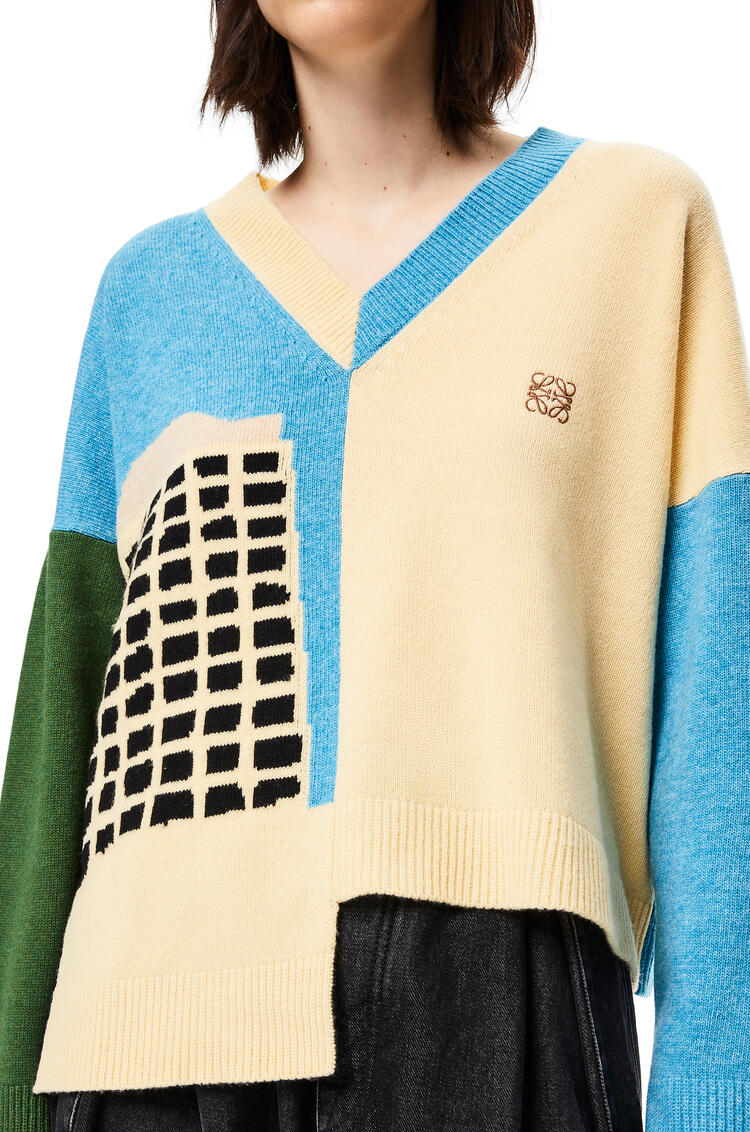 LOEWE L.A. Series intarsia asymmetric sweater in wool Turquoise/Cream pdp_rd