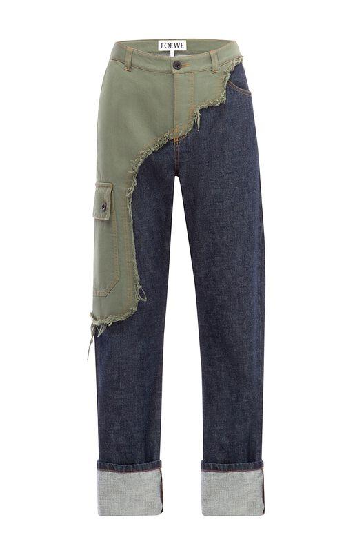 Asymmetric Cargo Jean Trousers
