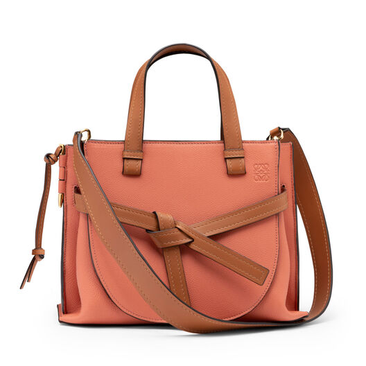 LOEWE Gate Top Handle Small Pink Tulip/Tan front