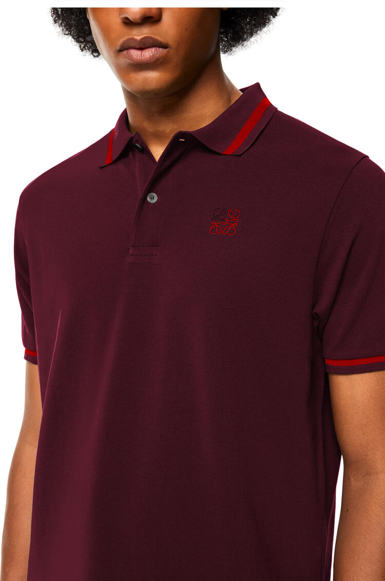 LOEWE Anagram polo shirt in cotton Burgundy pdp_rd