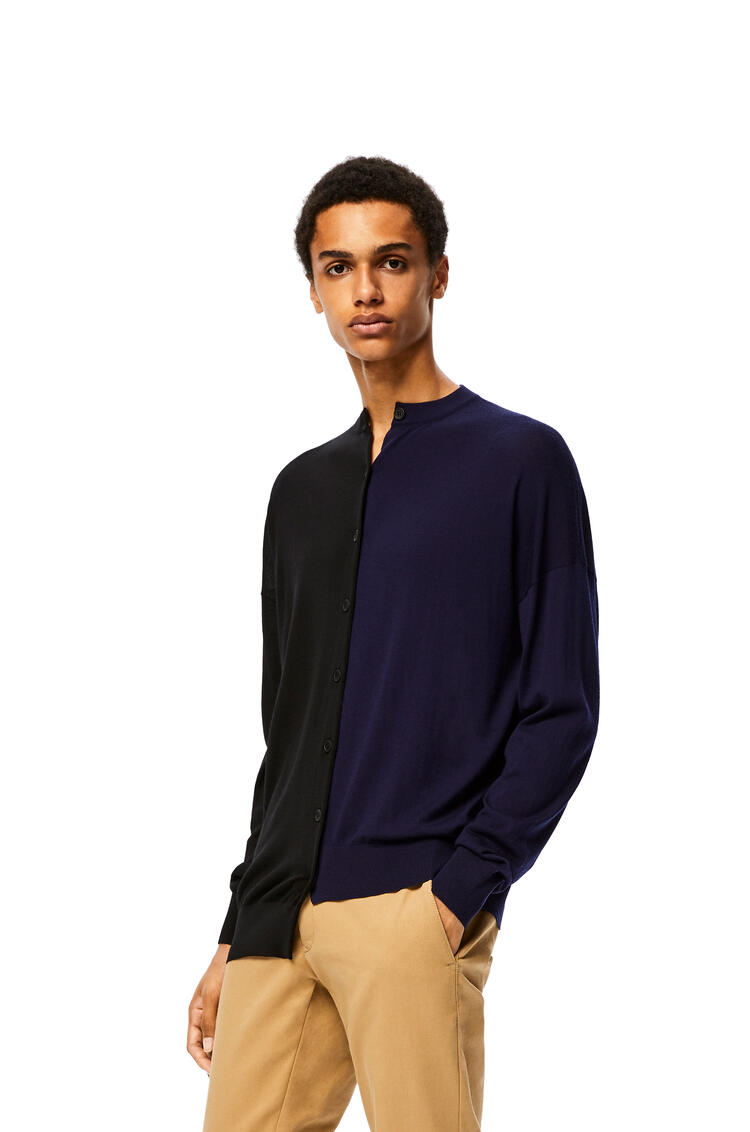 LOEWE Asymmetric cardigan in cashmere Black/Navy Blue pdp_rd