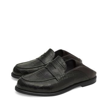 LOEWE Slip On Loafer Dark Green/Dark Brown front