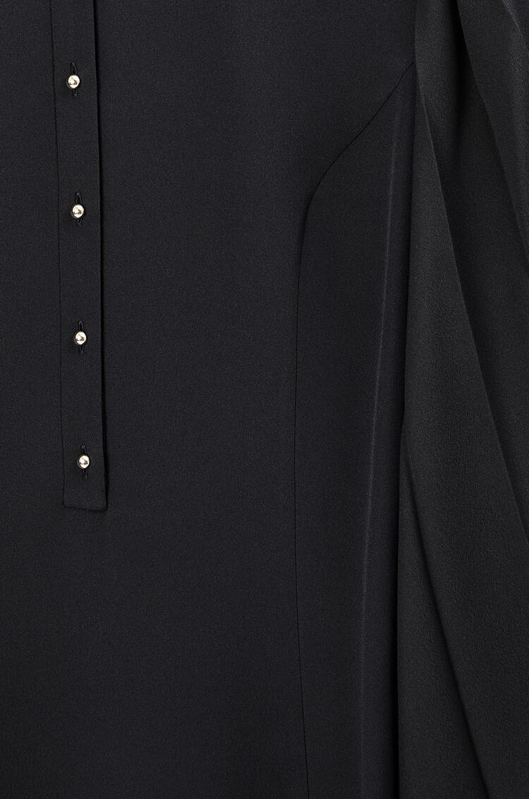 LOEWE Pleated sleeve midi dress in cotton and silk Dark Navy Blue pdp_rd
