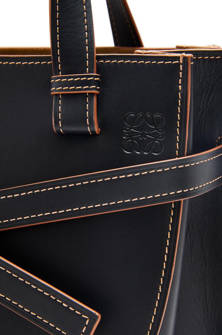 LOEWE Small Gate Top Handle bag in natural calfskin Black/Tan pdp_rd
