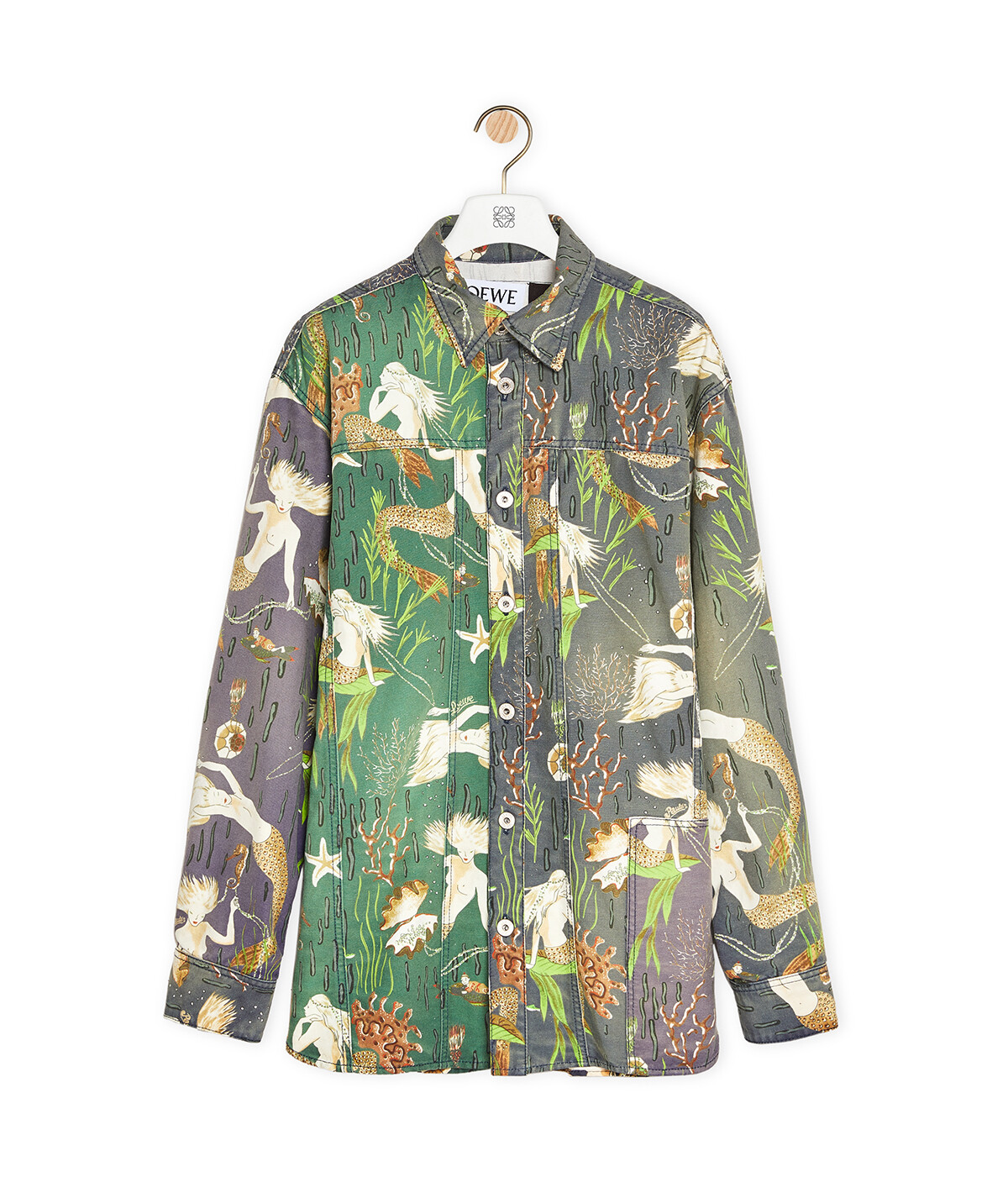 LOEWE Oversize Shirt In Mermaid Cotton Multicolor front