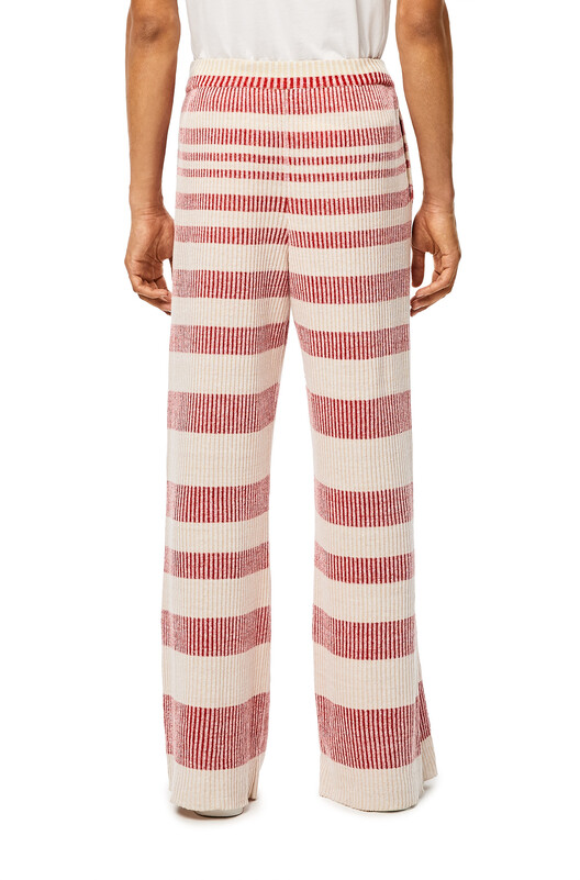 LOEWE Stripe Rib Knit Trousers Beige/Red front