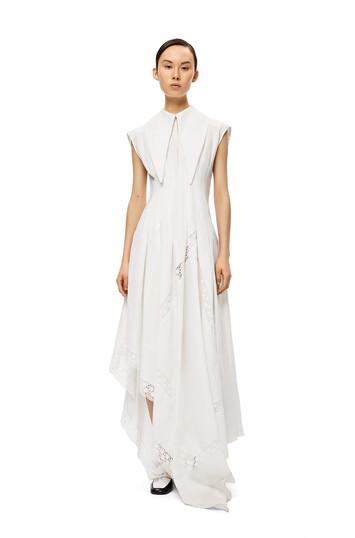 LOEWE 超大号有领连衣裙 白色 front