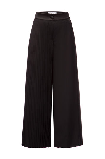 LOEWE Pleated Flare Trousers Black front