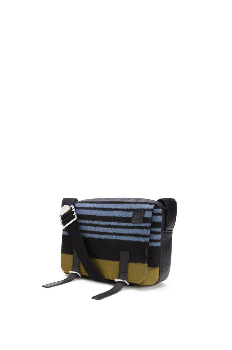 LOEWE XS Military Messenger bag in striped textile and calfskin Blue/Black pdp_rd