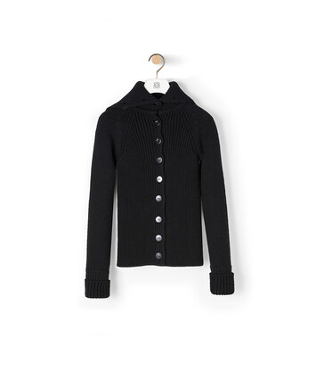 LOEWE High Neck Cardigan Black front