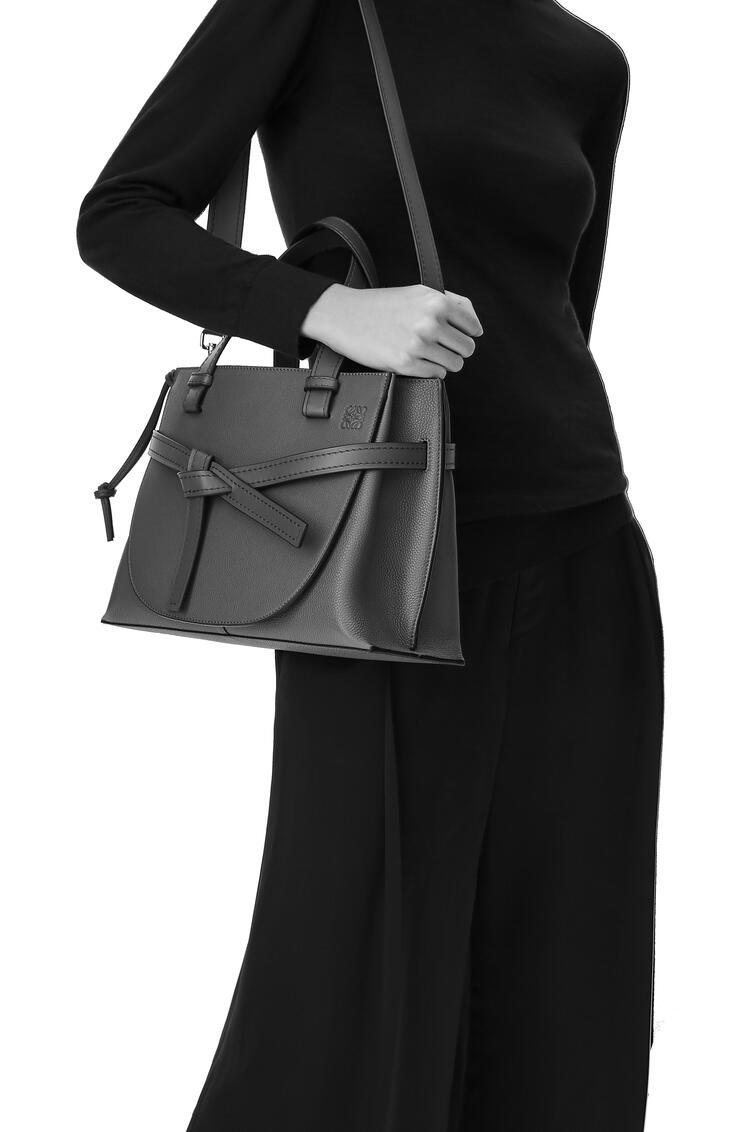 LOEWE Small Gate Top Handle bag in soft grained calfskin Light Caramel/Pecan pdp_rd
